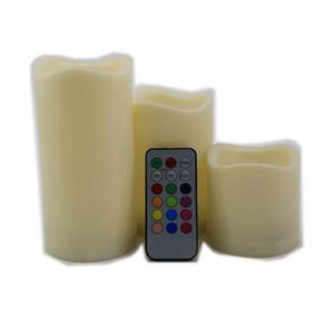 3 pz Telecomando senza fiamma 12 Set di 3 luci a lume di candela a LED cambiacolori 7.5 / 12 / 15CM # Candle-3set