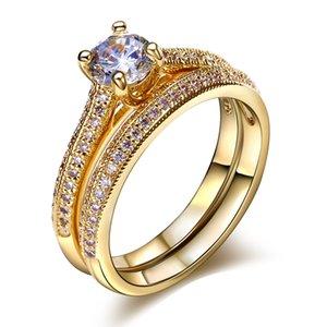 Braut Eheringe Set 18K Gold Ring Weißgold Platte Party Geschenke Ring Finger Vintage Schmuck Womans Mode Ringe Verlobungsring