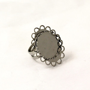 Beadsnice jóias encontrar handmade base de anel fit 18mm rodada anel de pedra preciosa espaços em branco tamanho ajustável moldura anel base de renda oval ID 28948