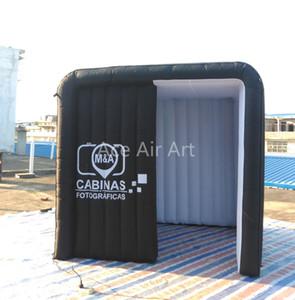 produtos infláveis branco dentro e fora da cabine de foto preta, cenário inflável da foto, dossel da estação da foto para venda