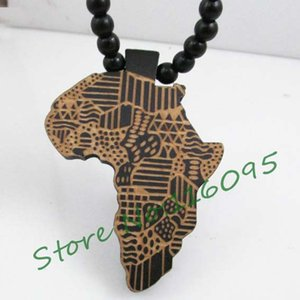 Wholesale-Africa Map Pendant Good Wood Hip-Hop Wooden NYC Fashion Necklace #MG302