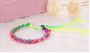 20pcs 2015 Lucky Mixed Friendship Cords Strand Rhinestone Bracelet With 100% Handmade Children Festival Gifts