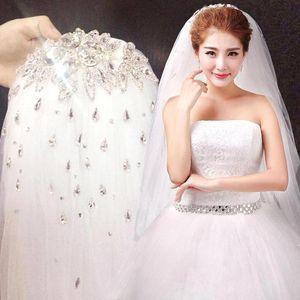 Rhinestone de alto grado Velo de novia blanco Velo de novia corto 1.5 metros Velos con cuentas de cristal Accesorios de boda
