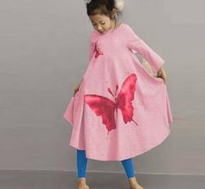 Menina coreana ROUPA primavera outono christams vestido de ROSA ROSA meninas vestido de festa Grande borboleta trompete saia do bebê vestido de princesa