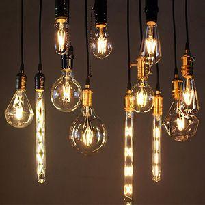 2W 4W 6W 8W E27 Led filamento da lâmpada 220v 110v T10 T45 T225 Luzes Bolha T300 G45 G80 G95 A60 ST64 Edison Retro