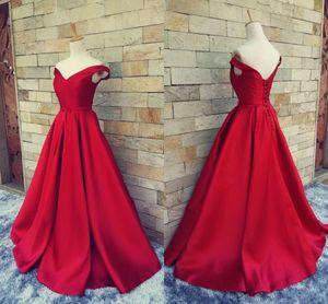 2017 Simple Dark Red Prom Dresses Scollo a V Off The Shoulder Increspato Satin Custom Made Backless Corset Abiti da sera Abiti formali Immagine reale