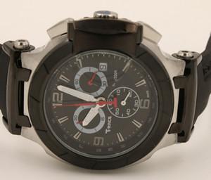 vente chaude Quartz Chronograph montre hommes T-course Montre Portatil T0484172705702 montres bande de caoutchouc noir COUTURIER 1853
