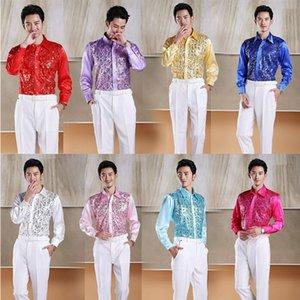 2015 Brilhante dos homens de alta qualidade Lantejoulas camisa / estúdio / performance de palco / chorus Lantejoulas roupas / MC host / cantor roupas
