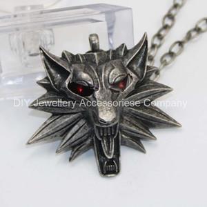 12 pcs 55 cm misto vermelho branco olhos bruxa Witcher pingente de bruxa Witcher 3 medalhão pingente de colar selvagem jogo figura de caça lobo amuleto
