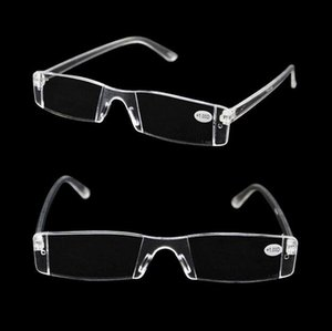 Fashion Portable White Reading Glasses Clear Rimless Eyeglasses Presbyopia 1.00-4.00 Diopter High quality reading glasses Free Shipping