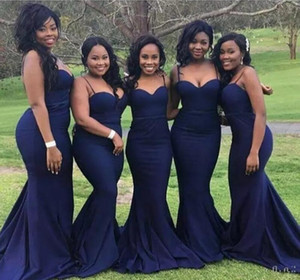 Cheap Dark Navy Bridesmaid Dresses Spaghetti Mermaid Long Formal Maid of Honor Gowns Plus Size African Wedding Guest Dress Custom