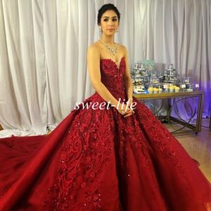 Michael Cinco Abiti da sposa di lusso Ball Gown Sweetheart Borgogna Tulle Ricamo Crystal Chic 2019 Vintage Lace Abiti da sposa Custom Made