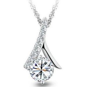 2017 de alta calidad de moda 925 plata esterlina brillante CZ zircon señoras collares pendientes 45 cm envío de la gota