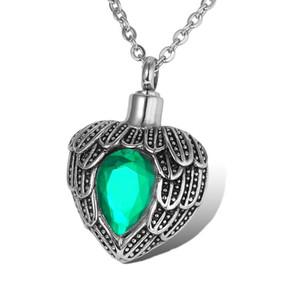 Lily Acero Inoxidable Angel Wings Birthstone Heart Impermeable Cremación Urna Collar Ash Memorial Jewelry (Verde) con bolsa de regalo y cadena