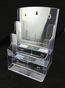 Brochure opuscoli trasparenti A4 a tre livelli Opuscolo informativo Supporto in plastica per espositori da inserire sul desktop 1pcs Spedizione gratuita