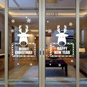 Los copos de nieve de Navidad ciervos Ventana Rejillas Feliz Año Nuevo Salón Dormitorio vinilo decorativo extraíble Blanco y Negro Color Rojo