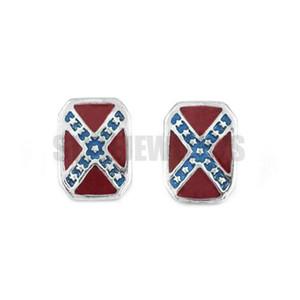 ¡Envío gratis! Classic American Flag Earrings Stainless Steel Jewelry Fashion Cross estrella Motor Biker Hombres Mujeres Pendiente SJE370144