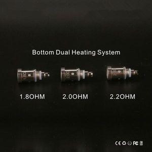 GS H2S Dual Bobines Bobine de tête d'atomiseur V-Core III Bobines inférieures 1.8ohm 2.0ohm 2.2ohm pour le clearomiseur GreenSound Mis à jour Ego H2