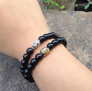 SN0364 Mode-Design Naturstein Männer Buddhistische Perlen Armband Antik Silber Buddha Kopf Armband Schwarz Stein Mala Armbänder