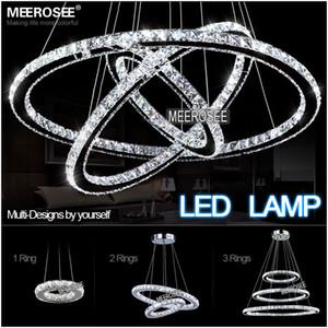 Spedizione veloce 3 Anelli Modern Chrome Lampada a sospensione LED Hall Lampadario di cristallo Luci a sospensione Cucina LED Lustres MD8825