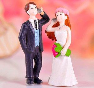 4pcs 결혼식 전화 커플 장식 요정 정원 소형 공예 테라리움 인형 Baison 도구 인형 집 장식 홈 액세서리