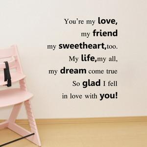 Tú eres mi amor, mi amigo cita calcomanías de decoración para el hogar letras arte mural gráficos de pared