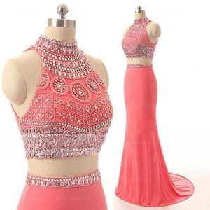 100% Real imagem duas peças sereia vestidos de baile de alta Neck Beading Art Deco-inspirado Neck Party Formal fugitivo vestidos de noite de moda