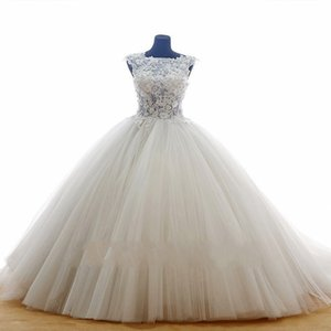 Puffy Lace Wedding Dresses See Through Tulle Ivory Vestido De Noiva Cheap Princess Bridal Gowns With Petticoat