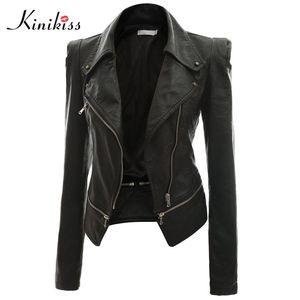 Wholesale-Kinikiss mujeres de la moda corto negro de la chaqueta de cuero atractivo del steampunk capa del otoño de la motocicleta chaqueta de imitación de cuero de la capa gótica femenina
