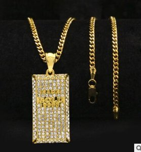 Hip Hop Necklace Gold Plated water Diamond Bling Square Card Pendant Cuban Chain Hip Hop Necklace Gold Silver Three-dimensional Brick shape