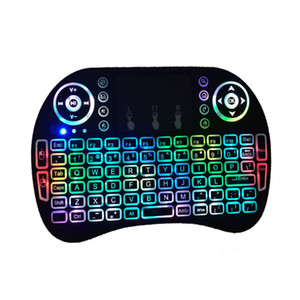Mini 2.4GHz teclado retroiluminado inalámbrico de mano portátil con teclados retroiluminación Touchpad para PC / Smart TV / Android TV Box 1pcs / lot