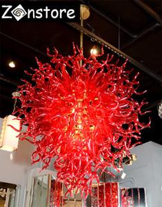 Ruby Red Chandelier - новый дизайн Ruby Red Balls Подвесные светильники из боросиликатного стекла 100% выдувные стеклянные светодиодные люстры и подвесные светильники