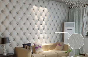 Nouveau Arriver 10 mètres / lot Faux cuir sac souple 3d papier peint PVC blanc chevet canapé tv fond mur papier peint papel de parede