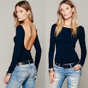Brand New Fashion Sexy Slim Atrovirens 2016 Cotton Summer Style Long Sleeve Kim Kardashian Backless Open Back Tops Halter Top Women T Shirt