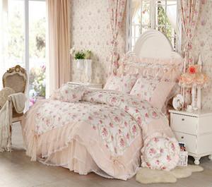 Wholesale-Korean style Lace princess bedding set home textile 4pcs Flower bedspread bed skirts girl bedclothes duvet cover queen king