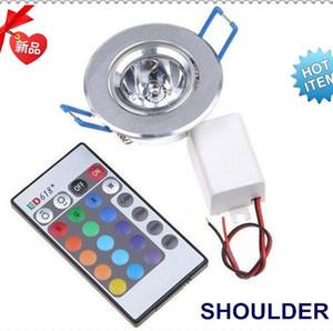 3W RGB Plafonnier Downlight 85-265V LED ampoule Downlight 16 couleurs changeantes de mur lumières encastrées lampe + télécommande IR