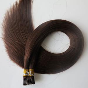 قبل المستعبدين I Tip البرازيلي الإنسان الشعر 100G 100 فروع 18 20 22 24inch # 4 / بني داكن الهندي مستقيم منتجات الشعر