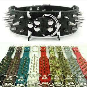 (10 cores 4 tamanhos) 2inch Ampla cravado Studded Leather Dog coleiras para Pitbull Mastiiff mais raças