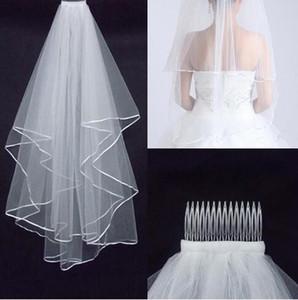 Mais barato Two-Layer Wedding Veils real Jardim Veils ombros Com Pente Alta Qualidade Branco Veils para o casamento HT50