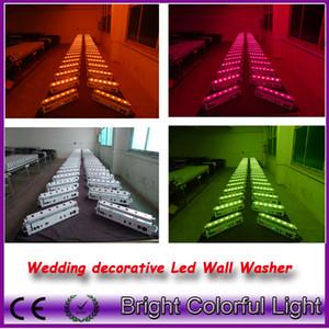 5 luces + 1 estuche de mosca / lote RGBWAUV 6 EN 1 Led de energía de la batería inalámbrico dmx wedding led luces / wireless dmx led wall washer