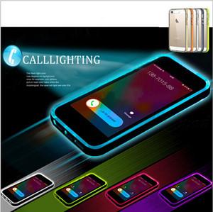 Regalo de Navidad Llamadas híbridas entrantes flash Up claro TPU PC luz LED caso de la cubierta para el iphone 6 6S más 4.7 '' 5S Galaxy S6 nota 4