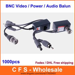 1000 pcs CCTV Coax BNC Vidéo DC Power RCA Audio Balun Émetteur-récepteur à CAT5e 6 Fedex / DHL Livraison Gratuite