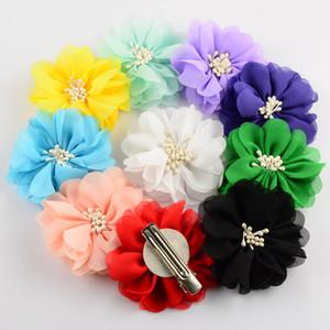 Hot nuovo fiore 100pcs clip / lot 20 colori 2.76 pollici Boutique artificiale chiffon Fiori con clip per i capelli delle neonate Accessori Beauty