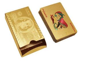 دي إتش إل الحرة أعلى جودة رقائق الذهب مطلي أوراق اللعب البلاستيك بوكر الدولار الأمريكي / اليورو نمط والأسلوب العام مع شهادة