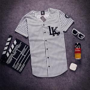 Toptan-2020 Moda Erkek V yaka Hip Hop Tyga yağma Son krallar t gömlek beyzbol Gömlek Man Yaz şerit buttoms Tee Gömlek Ücretsiz