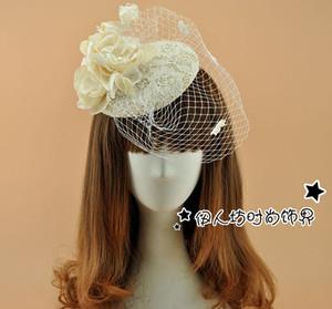 Encaje de la vendimia sombreros de novia con velos Boda Fascinators sombreros 2016 nuevo casco nupcial Sinamay sombreros decoración de flores de plumas tocado