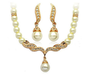 Necklace for Wedding Gold Plated Tear Drop Cream Pearl Rhinestone Crystal Fashion Jewelry Necklace Earring Bridesmaid Jewelry Set