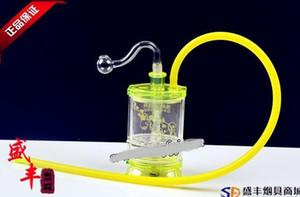 무료 배송 도매 물 담뱃대 - 아크릴 봉 [Yiping 평면 2 층 필터 물 담뱃대], 색상 임의 공급