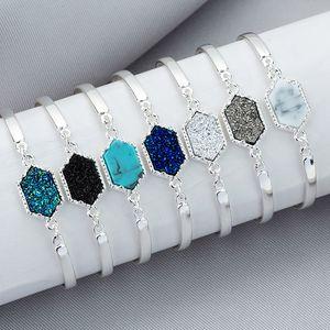 Drusy Braccialetti in resina geometrica Druzy Stone Bangle Luxury Women Jewelry Golden Silver Colors