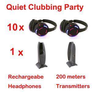 RF Silent Disco полная система беспроводных наушников с черными светодиодами - тихая клубная вечеринка (10 наушников + 1 передатчик)